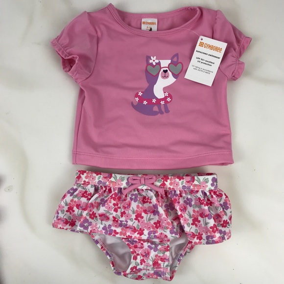 NWT Gymboree Skirted Flower Rash Guard Two-Piece Swimsuit Floral Swimwear NEW 5T